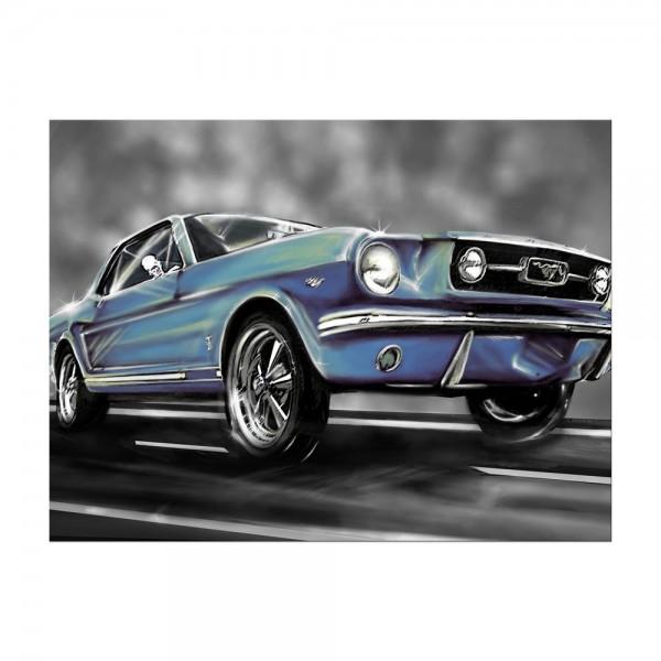 Leinwandbild - Mustang Graphic - blau