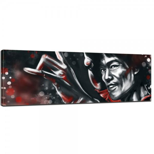 SALE Leinwandbild - Bruce Lee - rot - 120x40 cm