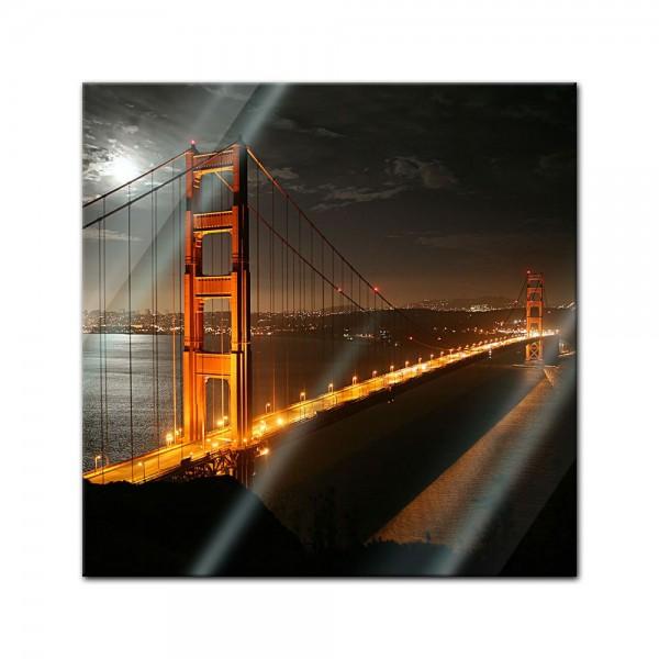 Glasbild - Golden Gate Bruecke in der Nacht Vollmond