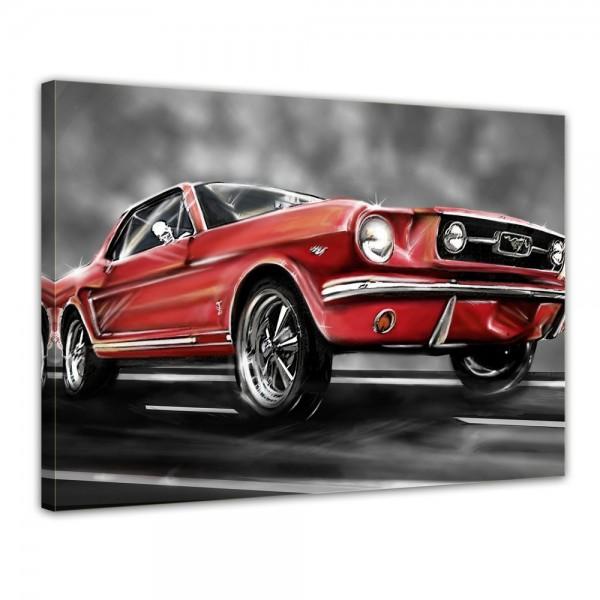 SALE Leinwandbild - Mustang Graphic rot - 70x50 cm