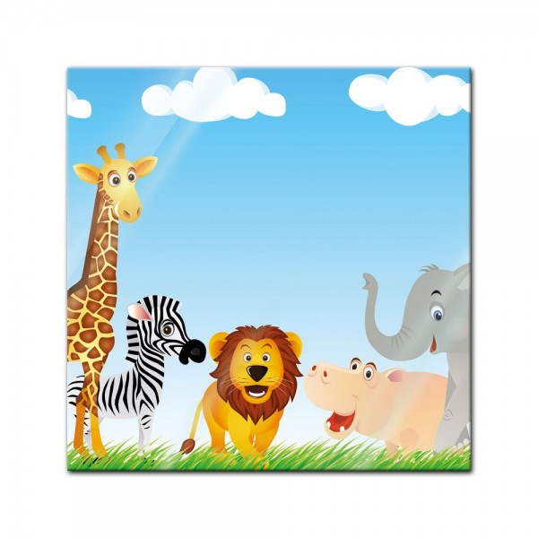Glasbild - Kinderbild Tiere Cartoon VI