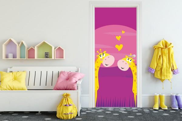 Türaufkleber - Kinderbild verliebte Giraffen