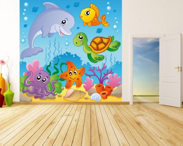 SALE Fototapete - Kinderbild Unterwasser Tiere III - 200 cm x 200 cm - farbig