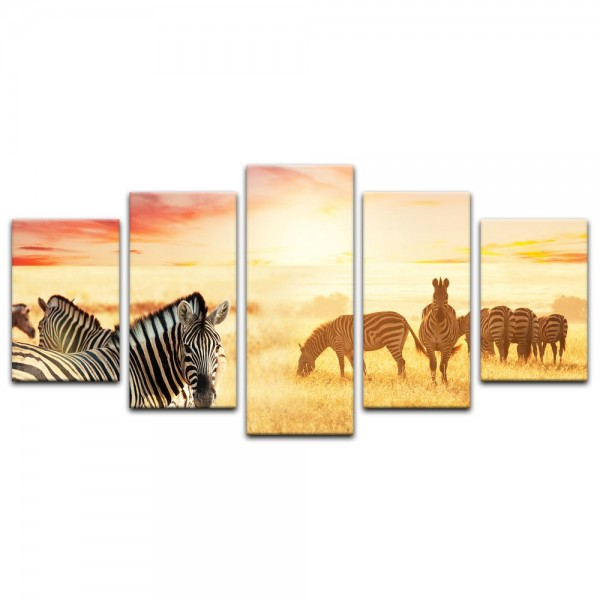 Leinwandbild - Zebras in der Savanne