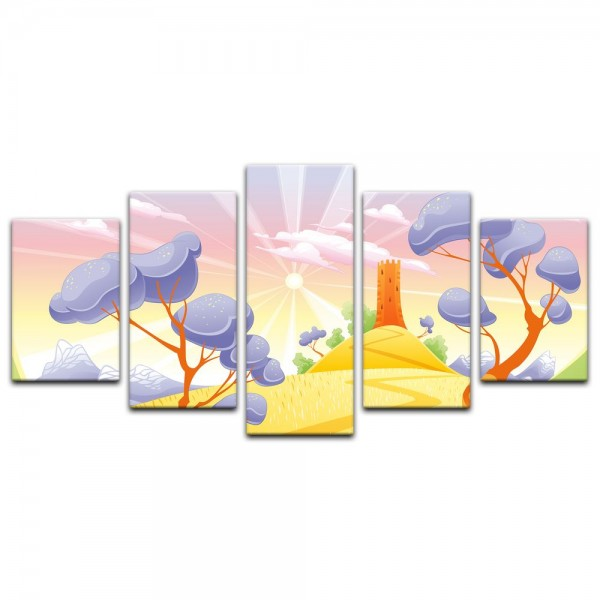 Leinwandbild - Kinderbild - Phantasielandschaft - Rapunzels Turm Cartoon