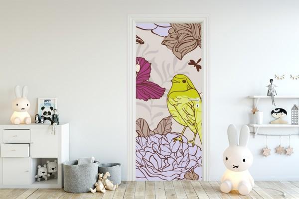 Türaufkleber - Kinderbild Vogel mit Blumen