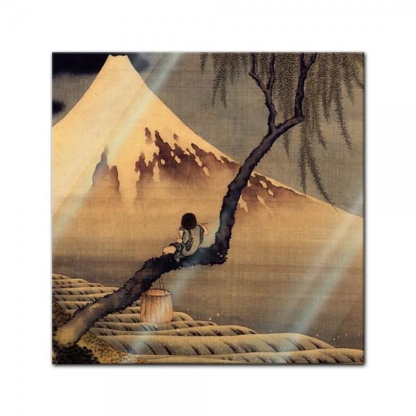 Glasbild Katsushika Hokusai - Alte Meister - Flötenspieler auf einem Trauerweidenzweig, den Fuji bet