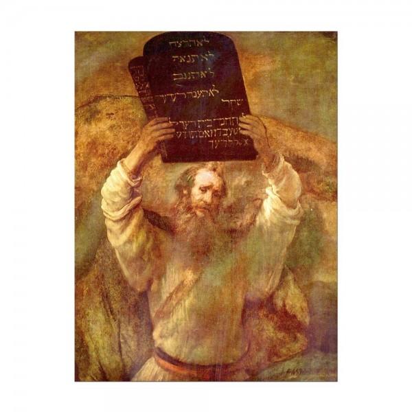 Leinwandbild - Rembrandt - Moses mit den Gesetzestafeln