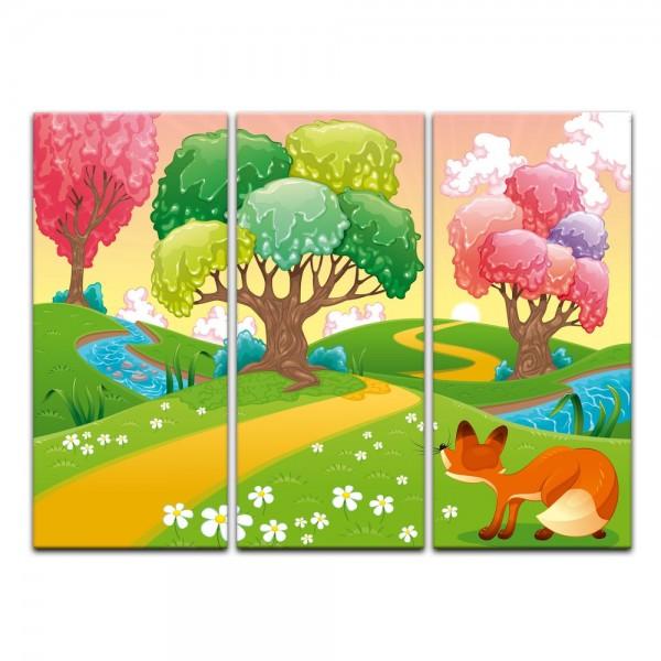 Leinwandbild - Kinderbild - Phantasiebäume - Bunter Wald