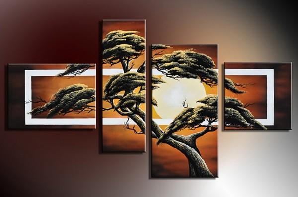 Baum M7 - Leinwandbild 4 teilig 120x70cm Handgemalt