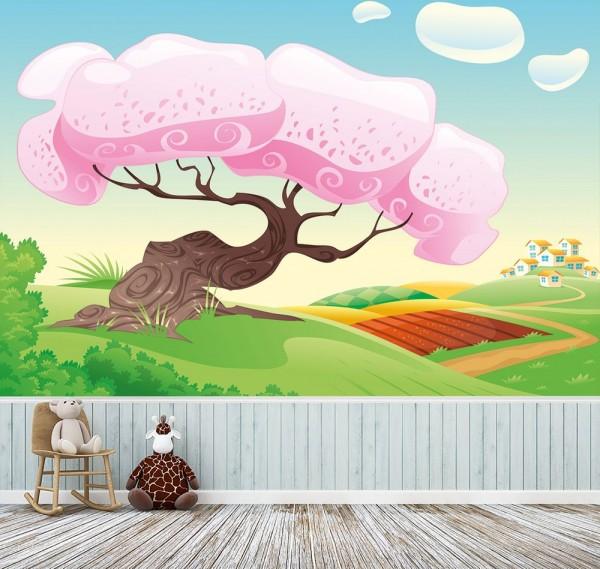 selbstklebende Fototapete - Kinderbild - Märchenbaum