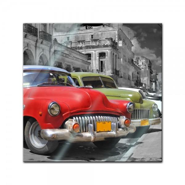 Glasbild - Oldtimer Kuba