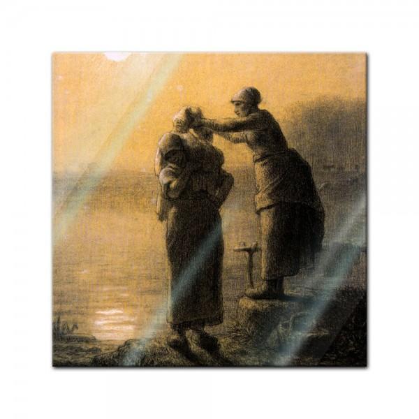Glasbild Jean-François Millet - Alte Meister - Wäschetrocknen im Mondschein