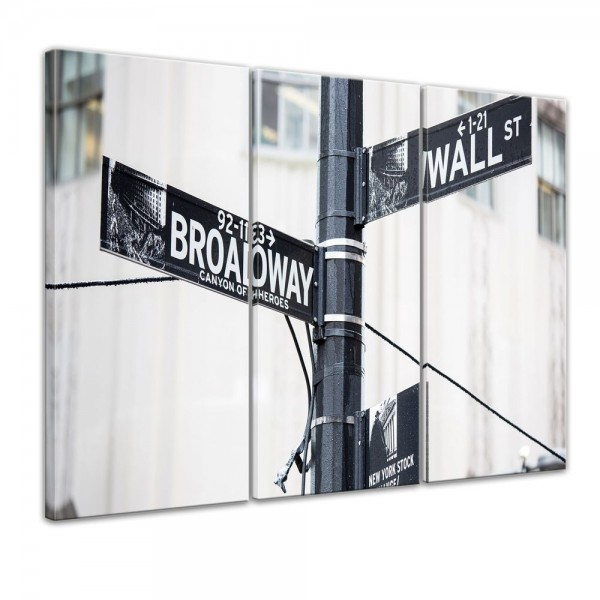 SALE Leinwandbild - Wallstreet - Straßenschild - 90x60 cm 3tlg