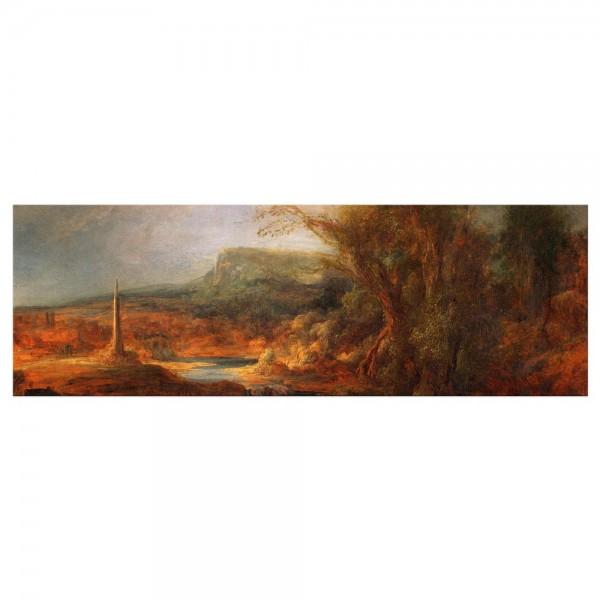 Leinwandbild - Rembrandt - Landschaft mit Obelisk