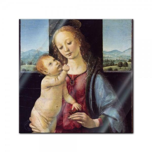 Glasbild Leonardo da Vinci - Alte Meister - Madonna mit der Nelke