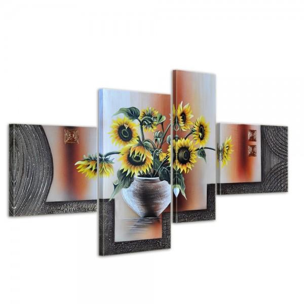 Sonnenblumen M1 - Leinwandbild 4 teilig 120x70cm Handgemalt