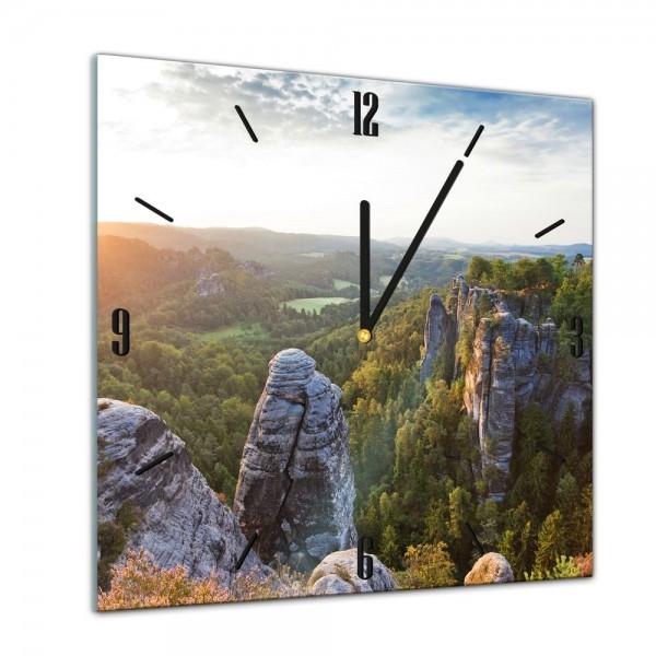 Glasuhr - Städte, Seen & Landschaften - Elbsandsteingebirge - Sächsische Schweiz - 40x40cm
