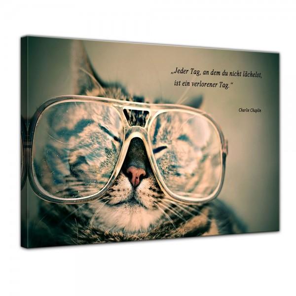 SALE Leinwandbild - Zitat - Jeder Tag, an dem du nicht lächelst, ist ein verlorener Tag. (Charlie Ch