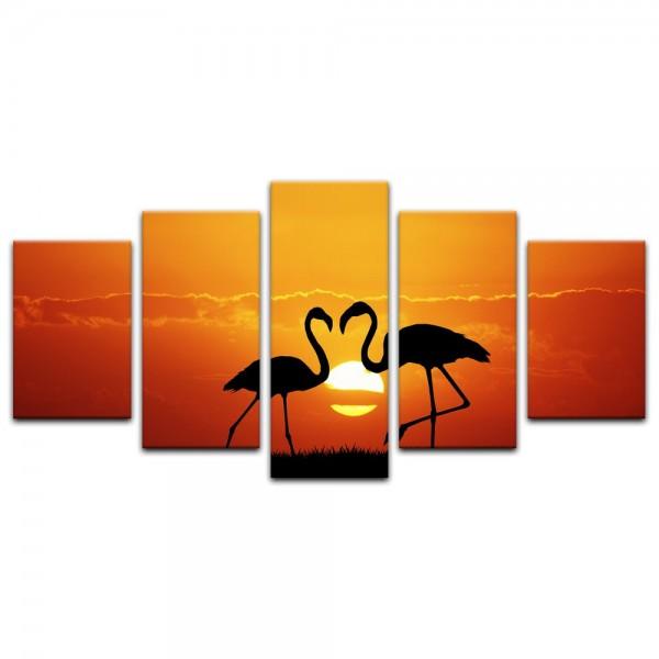 Leinwandbild - Flamingos im Sonnenuntergang