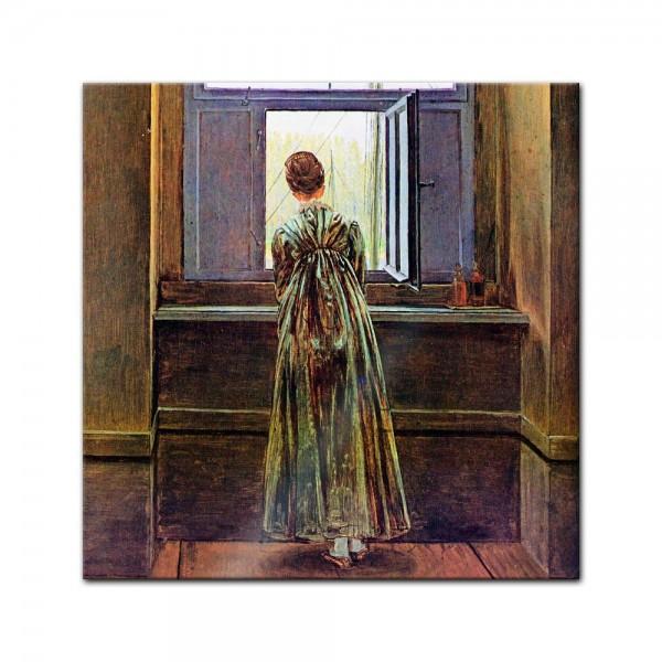 Glasbild Caspar David Friedrich - Alte Meister - Frau am Fenster