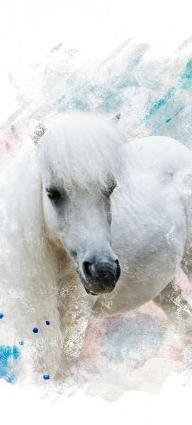 Türtapete selbstklebend Pferd 90 x 200 cm Wasserfarbe Aquarell Tier reiten Sport Mähne Hufe horse N