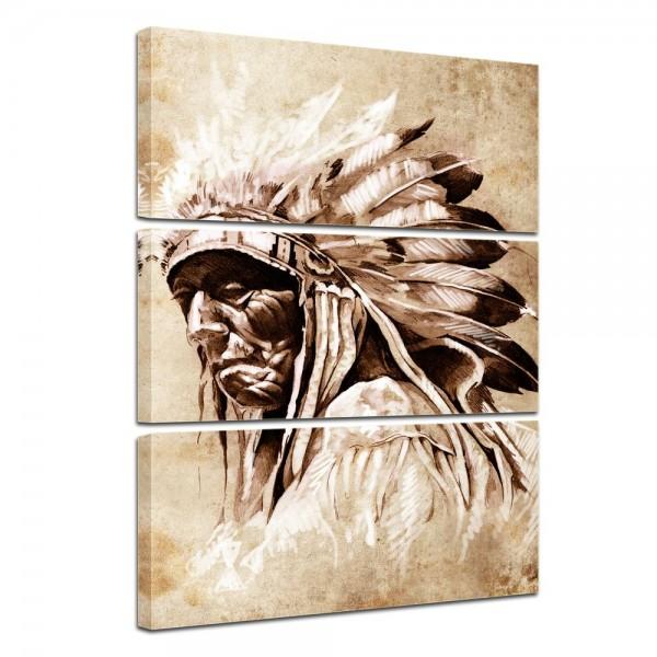 SALE Leinwandbild - Indianer im Vintage Style - 80x120 cm 3tlg