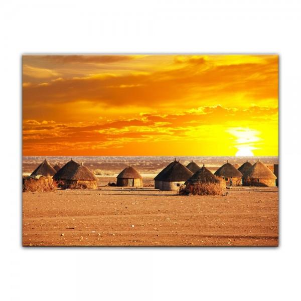 Leinwandbild - Afrikanisches Dorf