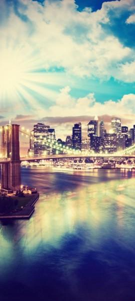 Türtapete selbstklebend New York V Vintage 90 x 200 cm Big apple Brooklyn Bridge Manhattan Millione
