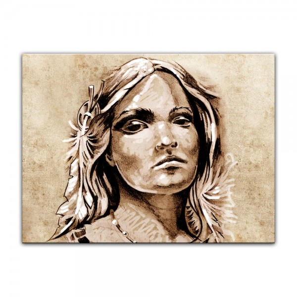 Leinwandbild - Indianerin II, Tattoo Art