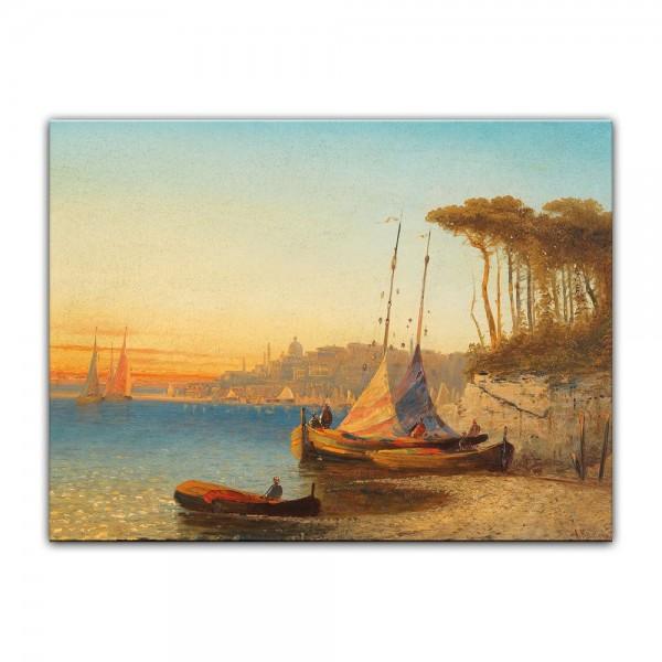 Leinwandbild - Adolf Kaufmann - Motiv am Meerbusen von Ischia bei Neapel