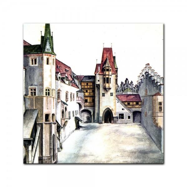 Glasbild Albrecht Dürer - Alte Meister - Der Hof der Burg zu Innsbruck