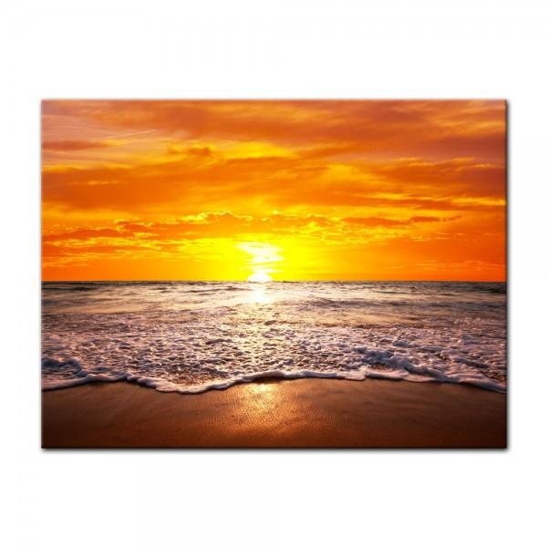 Leinwandbild - Strand Sonnenuntergang I