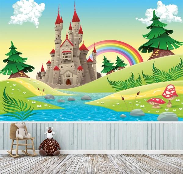 selbstklebende Fototapete - Kinderbild - Burg - Märchenschloss