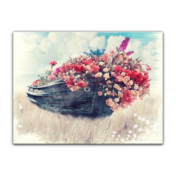 Leinwandbild - Aquarell - Altes Boot mit Blumen
