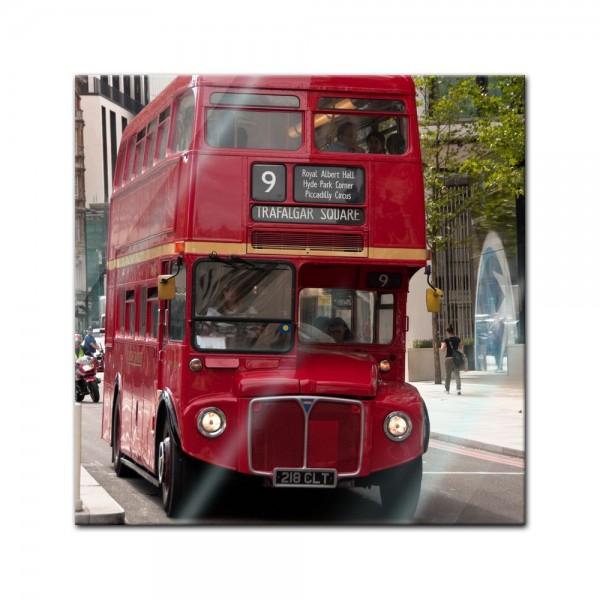 Glasbild - Alter Doppeldeckerbus London