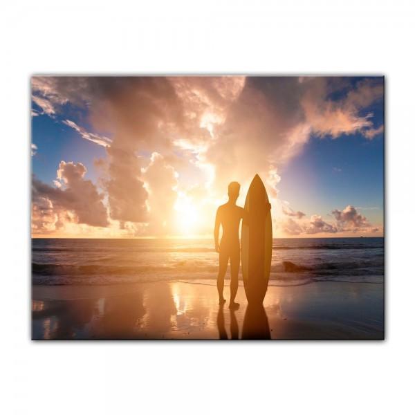 Leinwandbild - Surfer im Sonnenuntergang II