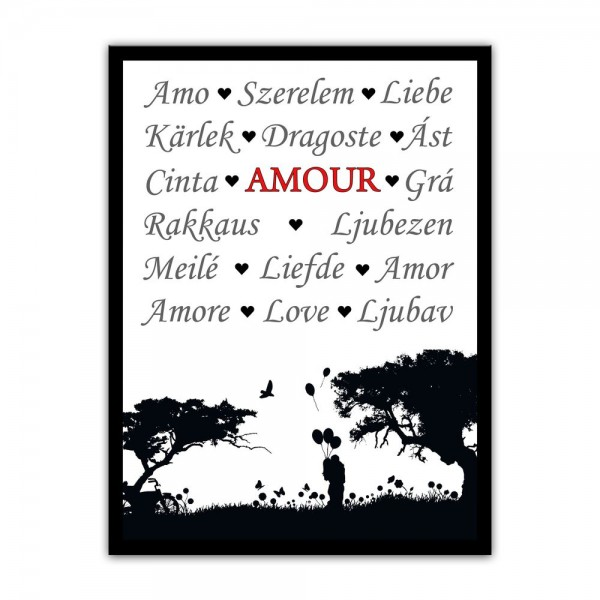 Leinwandbild mit Spruch - Amour