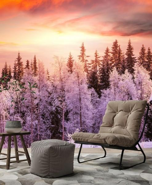 SALE Fototapete Winterwald - 100cm x 100 cm - farbig