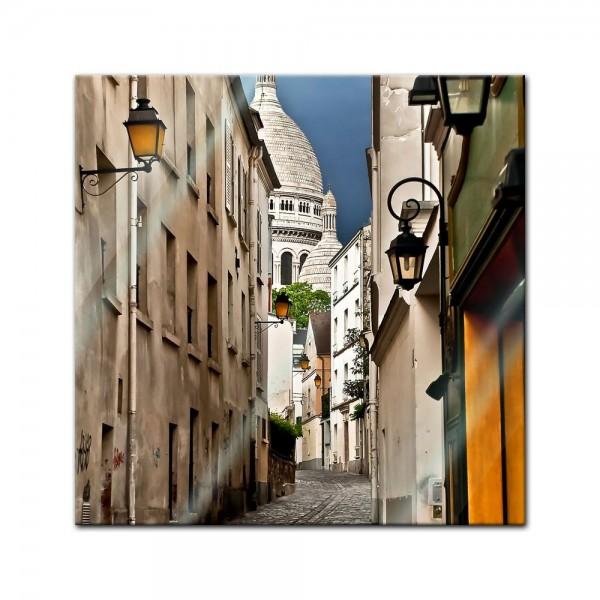 Glasbild - Gasse in Montmartre Paris - Frankreich
