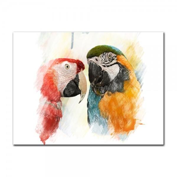 Leinwandbild - Wasserfarbenbild - Papageien