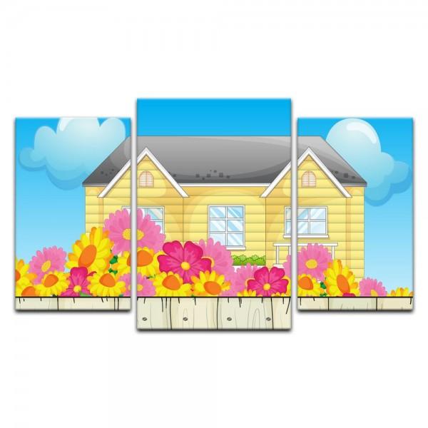 Leinwandbild - Kinderbild - Haus mit Vorgarten
