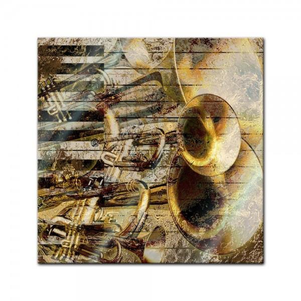 Glasbild - Trompete und Piano abstrakt