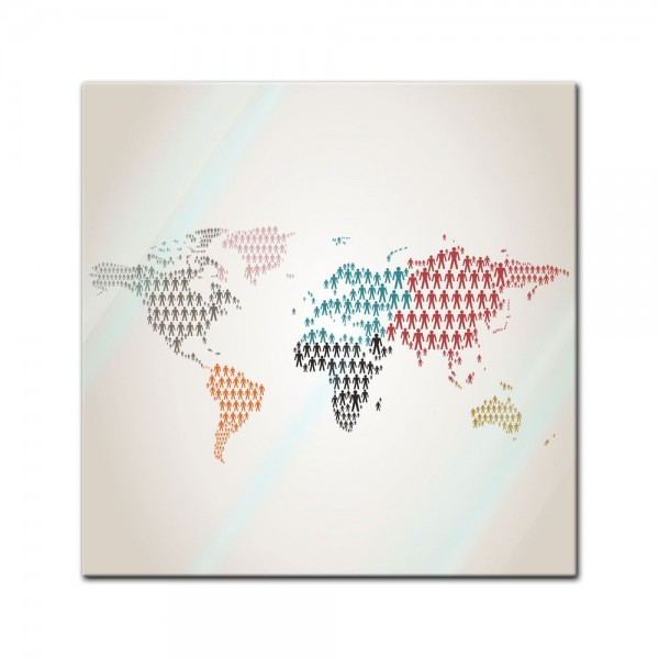 Glasbild - Weltkarte Piktogramm Mensch II