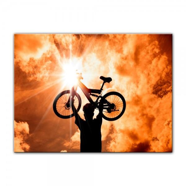 Leinwandbild - Silhouette - Mountainbiker
