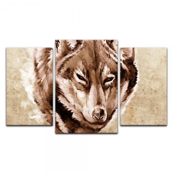 Leinwandbild - Wolf, Tattoo Art