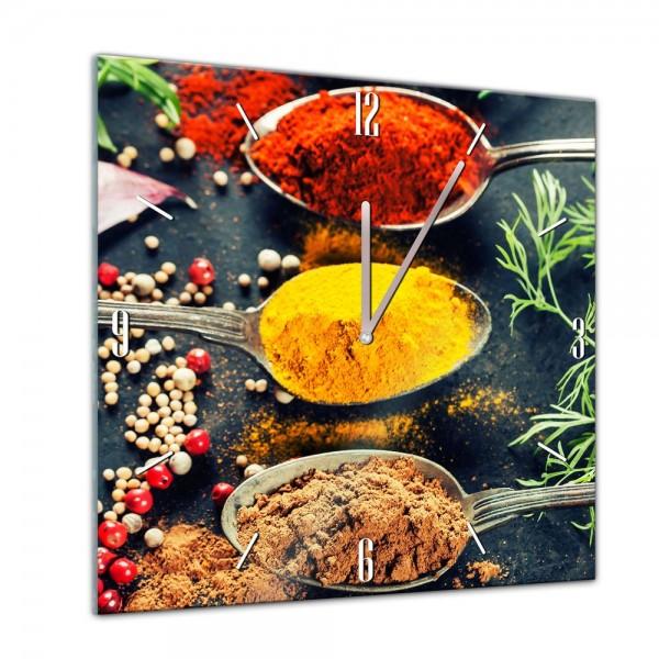 Glasuhr - Kochen mit Genuss - Kräuter und Gewürze - 40x40cm