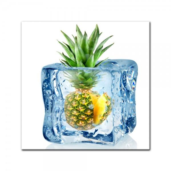 Leinwandbild - Eiswürfel Ananas