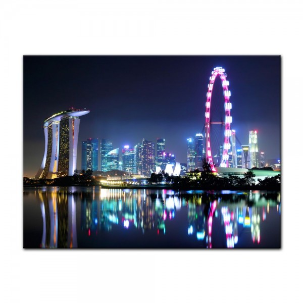 Leinwandbild - Singapur bei Nacht