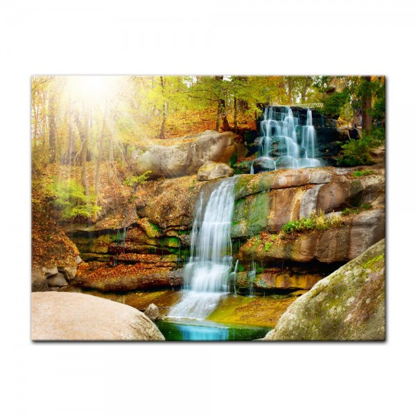 Leinwandbild - Wasserfall im Wald III